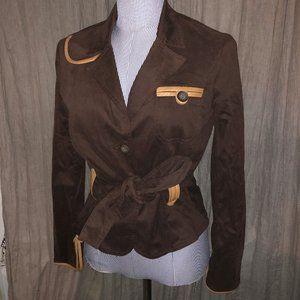 cache brown tan faux suede western blazer jacket 4